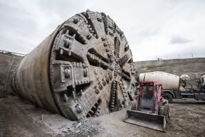 Tunel Ejpovice: Hlava štítu po dokončení ražeb u výjezdového portálu